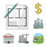 Realtor, agency cartoon icons in set collection for design. Buying and selling real estate vector symbol stock web. Realtor, agency cartoon icons in set Royalty Free Stock Images