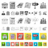 Realtor, agency flat icons in set collection for design. Buying and selling real estate vector symbol stock web. Realtor, agency flat icons in set collection for stock illustration