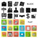 Realtor, agency flat icons in set collection for design. Buying and selling real estate vector symbol stock web. Realtor, agency flat icons in set collection for vector illustration