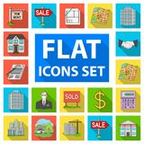 Realtor, agency flat icons in set collection for design. Buying and selling real estate vector symbol stock web. Realtor, agency flat icons in set collection for Stock Photography