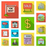 Realtor, agency flat icons in set collection for design. Buying and selling real estate vector symbol stock web. Realtor, agency flat icons in set collection for Royalty Free Stock Images