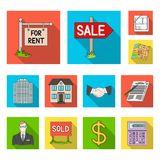 Realtor, agency flat icons in set collection for design. Buying and selling real estate vector symbol stock web. Realtor, agency flat icons in set collection for royalty free illustration