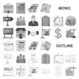 Realtor, agency monochrom icons in set collection for design. Buying and selling real estate vector symbol stock web. Realtor, agency monochrom icons in set royalty free illustration