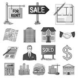 Realtor, agency monochrome icons in set collection for design. Buying and selling real estate vector symbol stock web. Realtor, agency monochrome icons in set Stock Photo