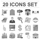 Realtor, agency monochrome icons in set collection for design. Buying and selling real estate vector symbol stock web. Realtor, agency monochrome icons in set Royalty Free Stock Images