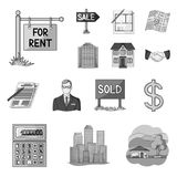 Realtor, agency monochrome icons in set collection for design. Buying and selling real estate vector symbol stock web. Realtor, agency monochrome icons in set Royalty Free Stock Image