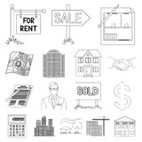 Realtor, agency outline icons in set collection for design. Buying and selling real estate vector symbol stock web. Realtor, agency outline icons in set Stock Image