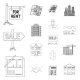 Realtor, agency outline icons in set collection for design. Buying and selling real estate vector symbol stock web. Realtor, agency outline icons in set Stock Photo