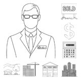 Realtor, agency outline icons in set collection for design. Buying and selling real estate vector symbol stock web. Realtor, agency outline icons in set Royalty Free Stock Images