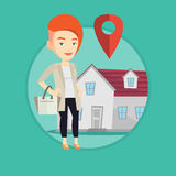 Realtor on background of house with map pointer. Royalty Free Stock Photography