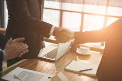 Realtor & client handshaking. real estate agent shaking hands wi. Th customer. sale & purchase property with signing contract document and approved mortgage loan Royalty Free Stock Photos