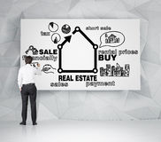 Realtor drawing real estate royalty free stock photography