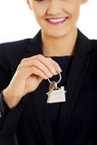 Realtor is giving the keys to an apartment. Stock Images