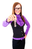 Realtor handing the keys isolated over white Stock Photos