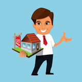 Realtor holding in his hands the model of a house. Real estate agent holding in his hands the model of a house with sold sign. Real estate concept royalty free illustration
