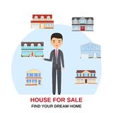 Realtor with houses around. Vector illustration. Home for sale. Realtor with house buildings around. Vector. Home for sale. Real estate concept. Property agent royalty free illustration
