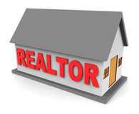 Realtor House Shows Estate Agents And Bungalow 3d Rendering Royalty Free Stock Image