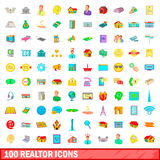100 realtor icons set, cartoon style. 100 realtor icons set in cartoon style for any design vector illustration Royalty Free Stock Images