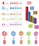 Realtor Infographic. Rent ,let, concept elements whit icons and charts stock illustration