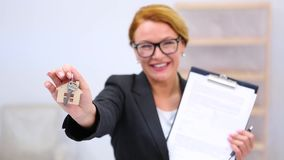 Realtor with key for apartment or flat stock footage