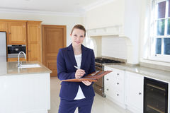 Realtor Looking Around Vacant New Property stock images