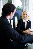 Realtor meeting client Stock Image
