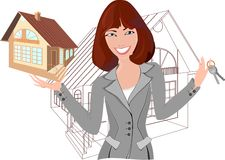 Realtor with model of the house. Beautiful realtor with model of the house Vector Illustration