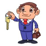 Realtor offering key to the apartment. Illustration of the realtor offering key to the apartment Stock Photography
