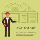 Realtor with placard. Realtor shows the house for sale. Flat design vector illustration eps 10 Royalty Free Stock Photos