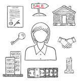 Realtor profession sketch for real estate design Royalty Free Stock Images