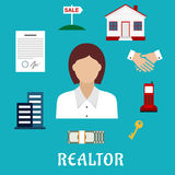 Realtor or real estate agent profession icons Royalty Free Stock Photography