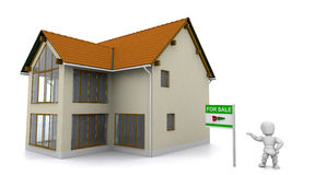 Realtor showing property. 3d render of a realtor showing a property Stock Photo