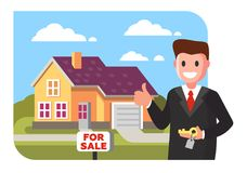 Realtor shows the house for sale. Vector flat style Royalty Free Stock Image
