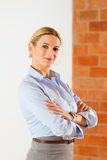 Realtor standing in empty apartment Stock Image