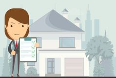 Realtor, vector illustration. Real estate concept realtor woman on house background in flat style, vector illustration Stock Image
