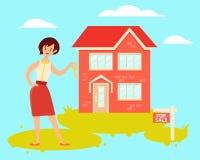 Realtor. Woman realtor holding house key. Vector illustration Stock Images