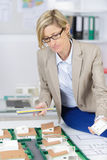 Realtor woman reviewing scale model houses Stock Image