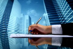 Realtor work. Realtor professional presentation business background Stock Image