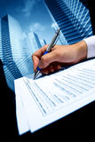 Realtor work. Realtor professional presentation business background Stock Photography