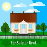 Realty dla sprzedaży lub czynszu Gruntowa fabuła z drzewami zielony gazon i dom fechtujący się z przodu ogródem, royalty ilustracja