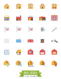 Realty flat design isolated icons. Real estate flat design icons on white background Royalty Free Stock Photo
