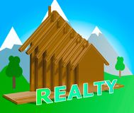 Realty Indicating Real Estate Property 3d Illustration. Realty Houses Indicating Real Estate Property 3d Illustrations Stock Images
