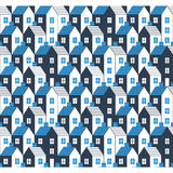 Realty pattern and backdrop. Real estate background. Houses seamless pattern, vector illustration Stock Photo