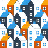 Realty pattern and backdrop. Real estate background. Houses seamless pattern, vector illustration Stock Image