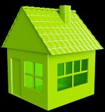 Realty and real assets: green house. On black background Stock Photos