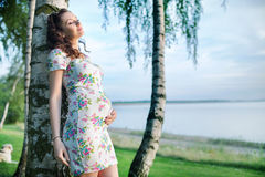 Realxed pregnant mother leaning against the tree Royalty Free Stock Image