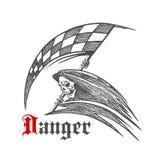 Reaper di scheletro o torvo con il simbolo di corsa della bandiera Immagine Stock Libera da Diritti