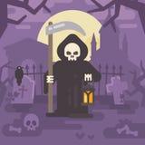Reaper torvo con una falce e una lanterna su un vecchio cimitero Fotografia Stock Libera da Diritti