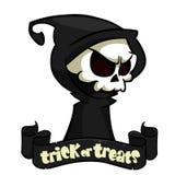 Reaper torvo del fumetto sveglio con la falce isolata su bianco Vector l'illustrazione con uno scherzetto o dolcetto di titolo e  royalty illustrazione gratis