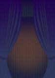 Reapertura azul del teatro de la cortina Ilustración del Vector